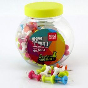 Deli 0054 Colored Push Pin (Assorted) - 100 Pcs - 1 Pc