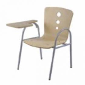 Chair With Writing Pad Afc-506  Powder Coated  Wooden Writing Tablet Seat And Back Fabric Tapestry