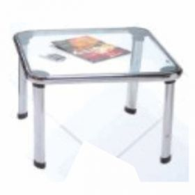 Office Table Afc-748 12Mm Toughened Glass Top  Chrome Pipe Frame  2*2 Feet