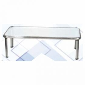Office Table Afc-749  12Mm Toughened Glass Top  Chrome Pipe Frame  4*2 Feet