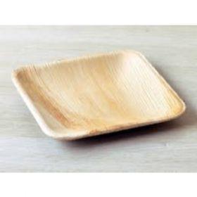"Areca Leaf Square Disposable Plates 4x4"" - Pack of 100"