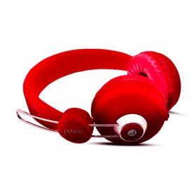 Pebble Curve Aux Headphones - Red