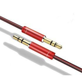 Pebble 1 Meter Aux Cable (Nylon Braided) (Red)