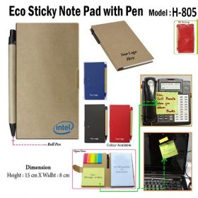 Eco Friendly Note Pad Stick-On Pad With Ball Pen (H-805)
