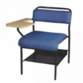 Chair With Writing Pad Afc-507  Powder Coated  Wooden Writing Tablet  Seat And Back Fabric Tapestry