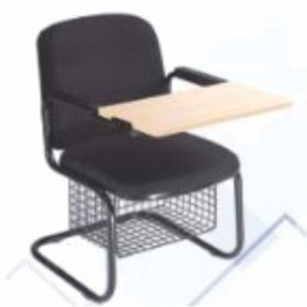 Chair With Writing Pad Afc-509  Chrome  Wooden Folding Pad  Seat And Back Leatherite Tapestry