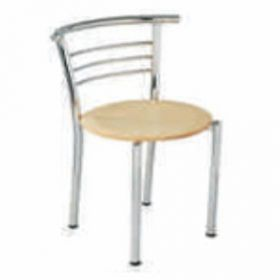 Visitor Chair Afc-616  Chair With Wooden Arm  Wooden Perforated Seat And Back Chrome Plated