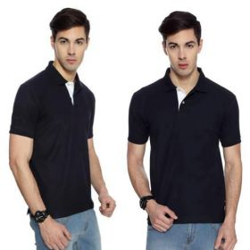 IZOD Men Navy Blue with White Placket Collared T-shirt-M
