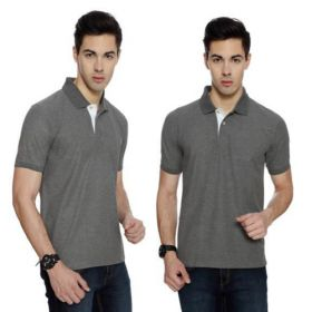IZOD Men Charcoal Grey with White Placket Collared T-shirt-M