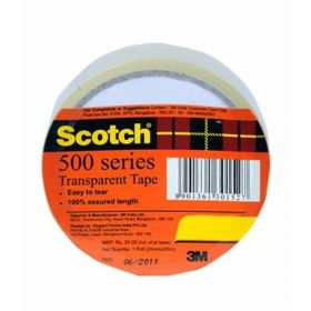 3M Scotch 500 Series Transparent Tape, 18 Mm X 25 Mtrs Roll - 10 Pcs