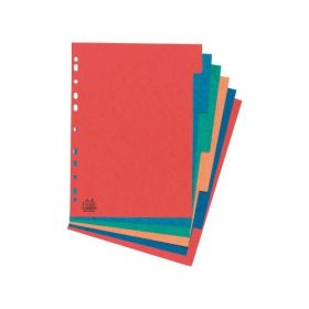 Cardboard File Dividers, A4, Assorted, 10 Sheets/Pack - 10 Packs