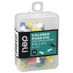 Deli 0021 Colorful Thumb Tack (Assorted) - 1 Pc
