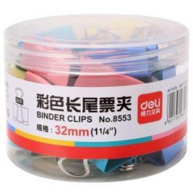 Deli Color Binder Clip(Assorted) 32Mmbox