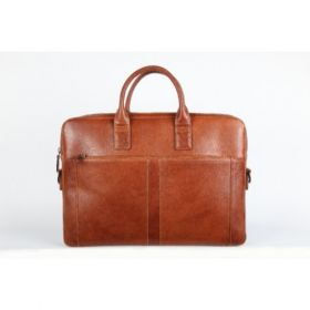 Elan Leather Slim Laptop Bag-Tan