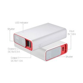 Portronics Tork 10050Mah Handy Power Bank With Dual Usb Ports ,Red