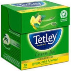 Tetley Green Tea Ginger Mint Lemon 10 Tea bags