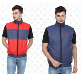 U.S. Polo Assn. Reversible Sleeveless Jacket - Navy Blue And Red(L)