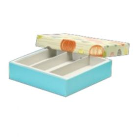 Beige / Turquoise Foldable 150 - 250 Gms Box (3 Lines)