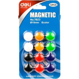 Deli Magnetic Buttons (Assorted) 15Mm (12Pcs/Pack)