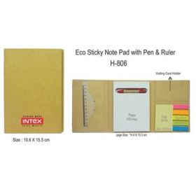 Eco Sticky - Memo Pad With Pen / Ruler (H-806)