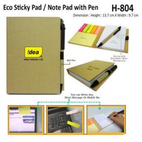 Eco Sticky Note Pad With Ball Pen (H-804)