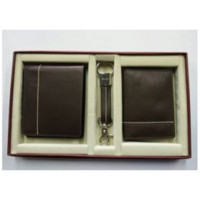 Three Piece Combo Set ( Waller, Key Fob & Card Holder )-Brown