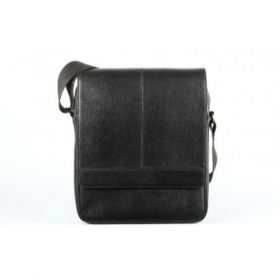 Elan Leather Shoulder Bag With Flap-Black