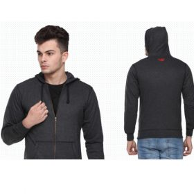 Flying Machine Men'S Hooded Sweatshirt - Charcoal Grey(S)