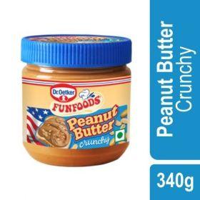 FunFoods Peanut Butter - Crunchy, 340 gm PET (Pack of 12)