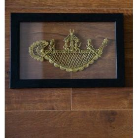 Naav Jaali In Wooden Frame Laminated In Glass ( 4 Figuriness)
