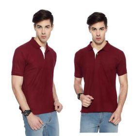 IZOD Men Maroon with White Placket Collared T-shirt-XL